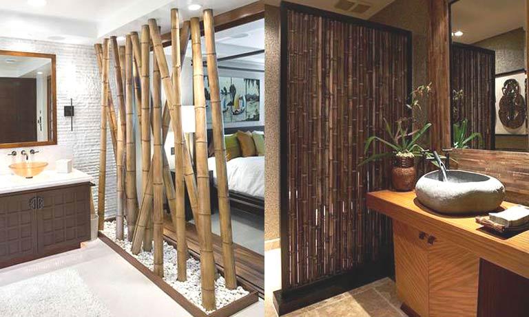 Перегородки в комнате из бамбука