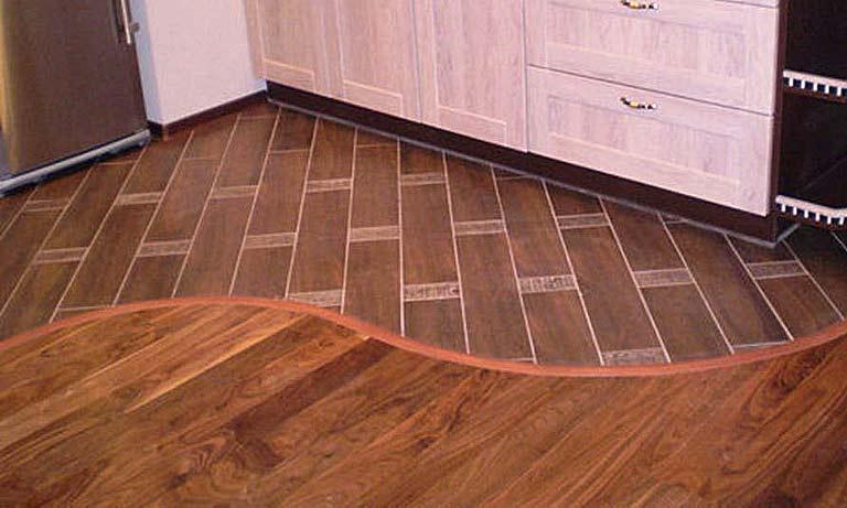 Полы на кухне комбинированные линолеум и плитка