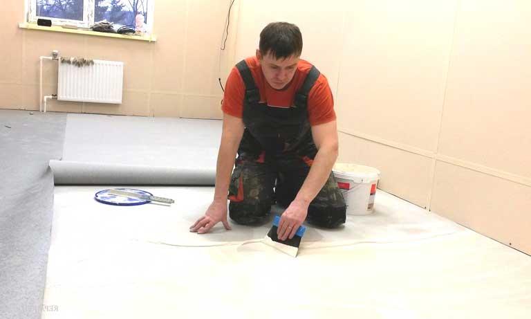Укладка ковролина своими руками на клей
