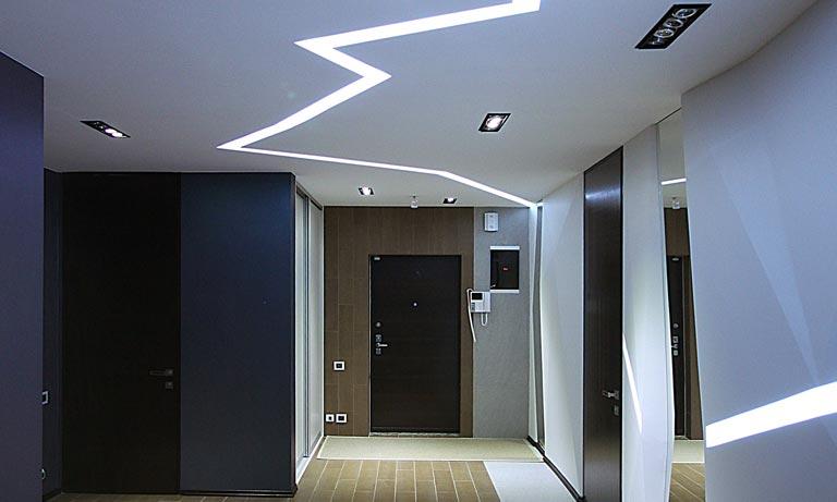 Подсветка потолка в прихожей светодиодной лентой