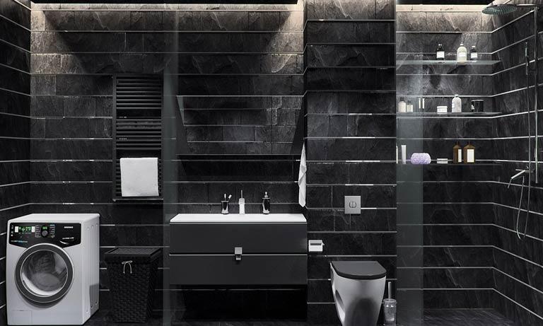 Душевая комната в частном доме в чёрно-белых тонах
