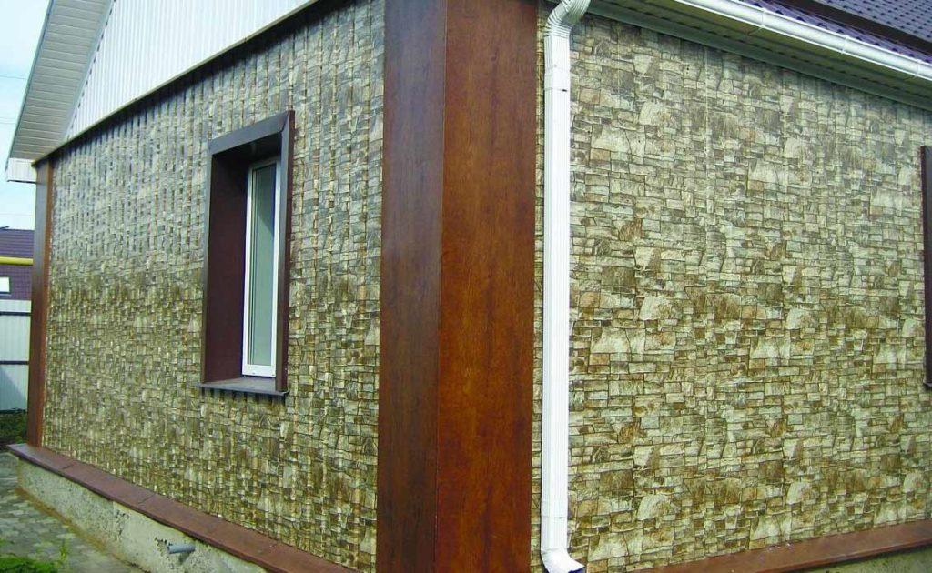 Обшивка дома профнастилом под камень