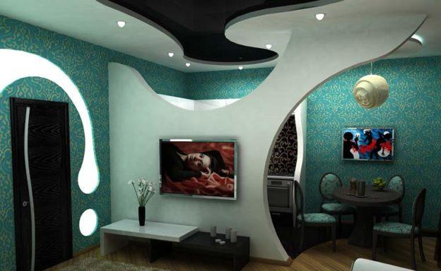 Фото применения перегородок из гипсокартона в комнате