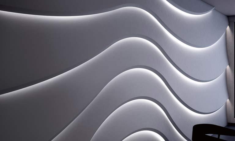 Отделка стен 3D панелями с подсветкой
