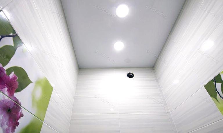Чаще всего потолок в туалете делают натяжным