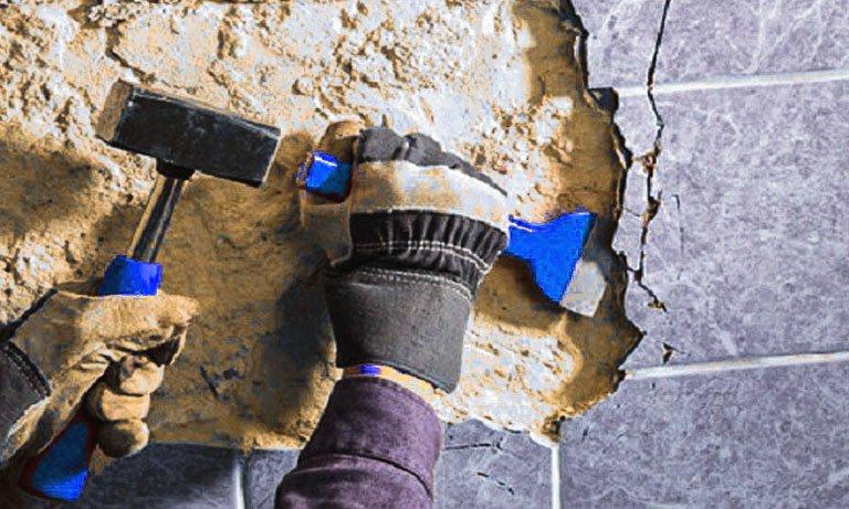 Убираем плитку со стены без сохранения